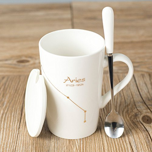 Znzbzt 12 Zodiac Cup ceramic mug couple cup personality milk coffee cup with lid, Aries ()