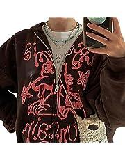 Dames Y2k E-Girl Oversized Sweatshirt, Zip Up Hoodies Jas E-Girl 90s Baggy Lange Mouw Grafische Trekkoord Jassen, Koffie, S