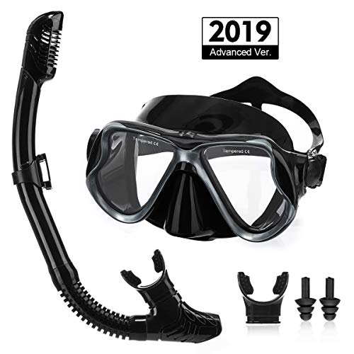 OUTERDO Snorkeling Set for Adults, Snorkel Mask with Ventilation Pipe Easy Breath, Wide View Diving Mask Anti Fog Anti Leak, Professional Snorkeling Gear for Snorkeling/Diving/Swimming(Black)
