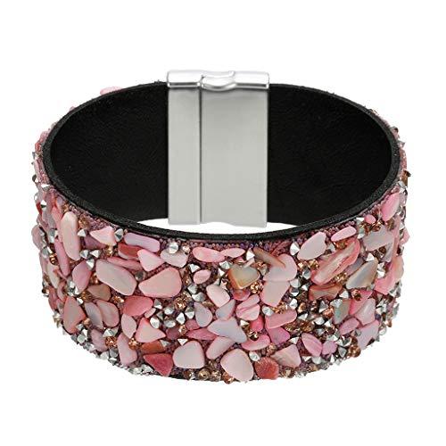 (Sinfu Women's Irregular Gravel Diamonds Beads Combination Bracelet Belt Buckle Bracelet Bracelet Jewelry (Pink))
