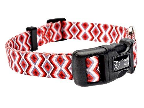 DoggyRide Fashion Dog Collar, 10 by 15-Inch, Ravishing Red Poppy, Red/Cream