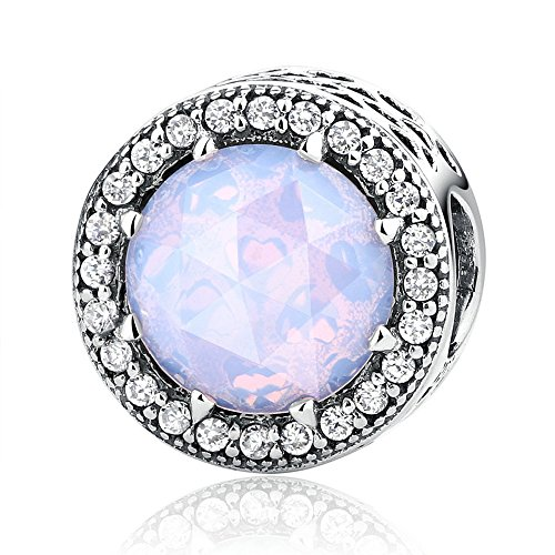 Everbling Radiant Hearts Crystal and Clear CZ 925 Sterling Silver Bead Fits European Charm Bracelet (Opalescent Pink)