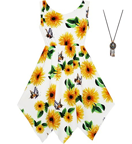 JE34 Girls Dress Sunflower Butterfly Hanky Hem Party Beach Necklace Size 12,Yellow, for $<!--$11.99-->