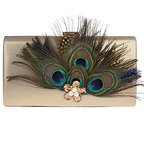 KAXIDY Bolsos de Fiesta Bolsos Ceremonia Clutches Para Carteras de Mano Bolsos Vestir Fiesta Dorado