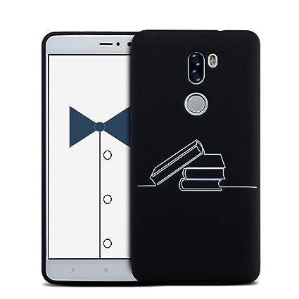 MOSORIS Funda Xiaomi MI 5S Plus, Carcasa Pattern Suave Negro Silicona Matte Caso Parachoques Tapa Case Delgado Flexibilidad Protectora Shell Espalda ...