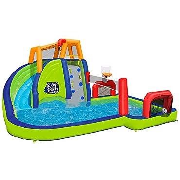 Banzai Inflatable Aqua Sports Splash Pool and Slide Water Park