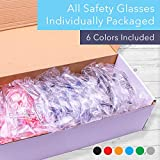 24 Pack of Safety Glasses (24 Protective Goggles in 6 Different Colors) Crystal Clear Eye Protection - Perfect for Construction, Shooting, Lab Work, and