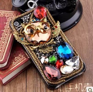 DIY 3D Bling Cell Phone Case Deco Kit : Lovely Owl Cabochons