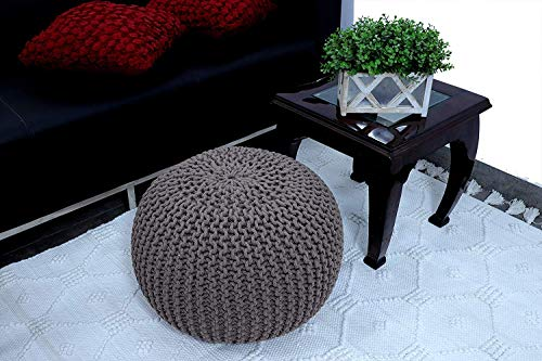 MIL Furnishings Cotton Knitted Pouf Ottoman Foot Stool for Living Room Bedroom Hall (Grey)