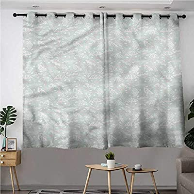 Cortina de Puerta corredera con Paraguas Vintage Floral para oscurecer la habitación, Reduce el Ruido: Amazon.es: Hogar