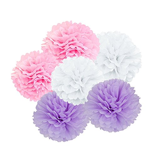 X-Sunshine Art Craft Tissue Paper Flower 9pcs 6 inch 8 inch 10 inch Decorative Hanging Flower Balls DIY Paper Pom Poms For Wedding, Baby Shower, Birthday, Party Decorations (White Pink purple) (Tissue White Ball Art)