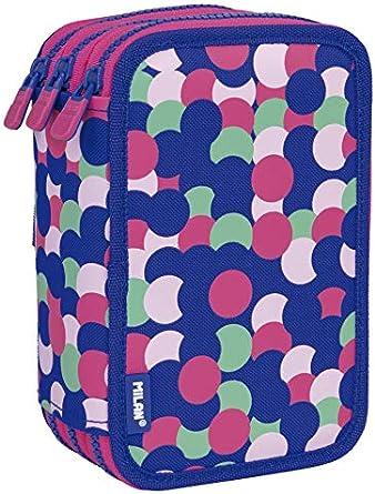 MILAN Plumier 3 Pisos Con Contenido Dotty Estuches, 20 cm, Rosa: Amazon.es: Ropa y accesorios