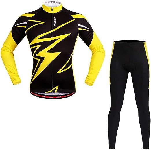 DRFFF Ciclismo Traje de Manga Larga Camisa Amarilla Primavera y otoño Trajes de Jersey de Bicicleta de Secado rápido Estera de Silicona Adecuado para Hembras Masculinas,XXL: Amazon.es: Hogar