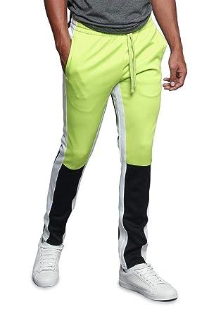 e239949ba Men s Color Block Dual Side Stripe Contrast Color Slim Fit Drawstring  Premium Track Pants TR523 -