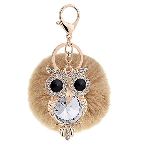Compact Velo Safe (1 Pc Mini Pocket Crystal Rhinestone Owl Brown Fur Keychain Keyring Keyfob Little Bird Rabbit Fluffy Pompom Ball Pendant Key Ring Tags Finder Deluxe Popular Cute Wristlet Utility Keyrings Tool, Type-09)
