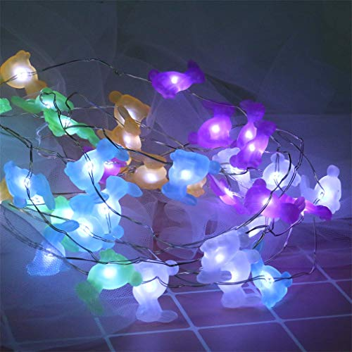 (Finedayqi Easter Decorations Lights Rabbit Bunny Festive String Lights Battery with Remote)