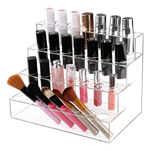 Nail Polish Organizer, Boxalls Lipsticks Holder 4 Layers Display Stand with 28 Grids Transparent