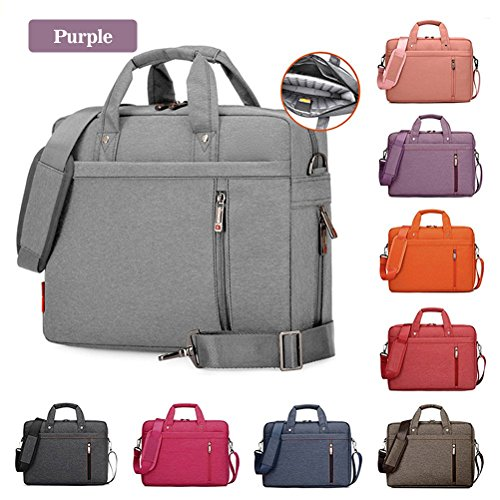 Samaz Shakeproof Nylon Laptop Messenger Shoulder Bag Case Briefcase for 13 - 17 Inch Laptop / Notebook / Ultrabook / Macbook Pro Retina Case (17 Inch, Purple)