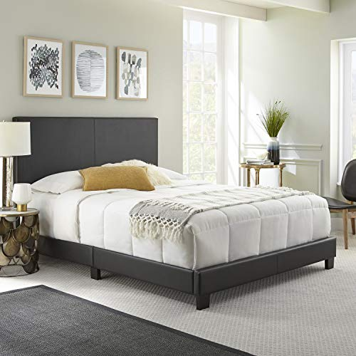 Boyd Sleep Montana Upholstered Platform Bed Frame with Headboard: Faux Leather, Black, ()