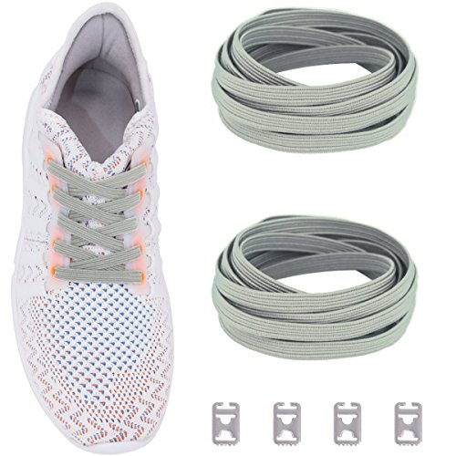 Ceratown No Tie Shoelaces with Elastic Band and Stainless Steel Tabs, No Knot Tieless Stretch Replacement Shoelaces for all Kid and Adult Shoes Color: Gray
