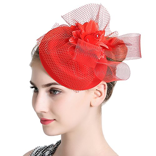 Free Yoka Womens Fascinators Red Feather Pillbox Hat Cute Beads for Cocktail Kentucky Derby Ball Wedding Church Party ()