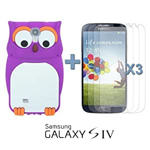 OnlineBestDigital - Owl Style 3D Silicone Case for Samsung Galaxy S4 IV I9500 / I9505 - Purple with 3 Screen Protectors