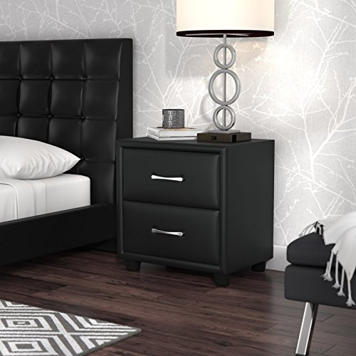 Modern Style Add This 2 Drawer Nightstand in Your Bedroom Furniture Collection Made of Vinyl in Black Color (Lamp Table 22' High)