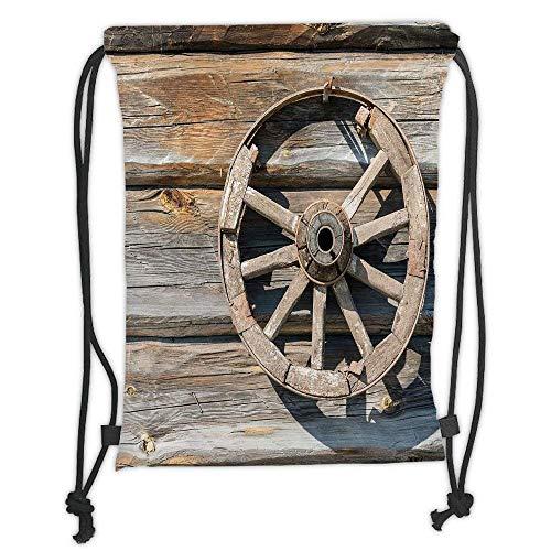 Wagons Cartwheels - Custom Printed Drawstring Backpacks Bags,Barn Wood Wagon Wheel,Old Log Wall with Cartwheel Telega Rural Countryside Themed Image Decorative,Umber Beige Soft Satin,5 Liter Capacity,Adjustable Stri