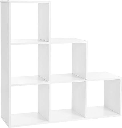 VASAGLE LBC63WT - Estantería para Libros, 6 Compartimentos, 6 Cubos, Madera, Separador de Espacios, 97,5 x 97,5 x 29 cm, Color Blanco: Amazon.es: Hogar