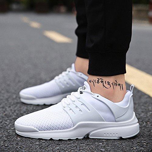 Shoes Running Moda Lace Traspiranti Sneakers Beathable Da In Eu Uomo up 39 Jiameng Scarpe Ginnastica 46 Mesh Casual Bianco Intrecciate nZX5Yqtx