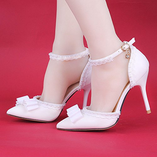 heeled shoes wedding white amp; Pearl toe Lace Women's bridesmaid and Stiletto 7CM bride Si High Pointed Heel sandals tw6EAA