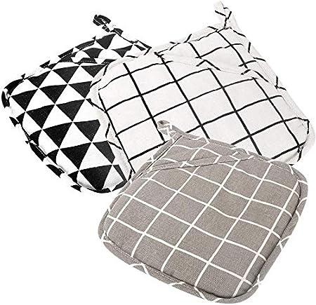 Presine in cotone set di guanti da forno set di 3 grandi presine in tessuto resistenti al calore per cucina 7.8 lavabili in lavatrice e durevoli