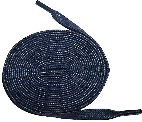"""Shoeslulu 50"""" Premium Flat Waxed Cotton Bootlaces Shoelaces (50 in. (127 cm), Prussian Blue)"""