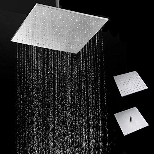 16'' 250MM 304 Stainless Steel Rainfall Showerhead Square Ultra Thin Slim Rain Shower Head by Ologymart (Image #10)