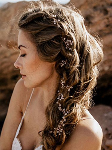 fxmimior Bride Hair Accessories Crystal Long Hair Vine Wedding Hair Piece (rose gold)