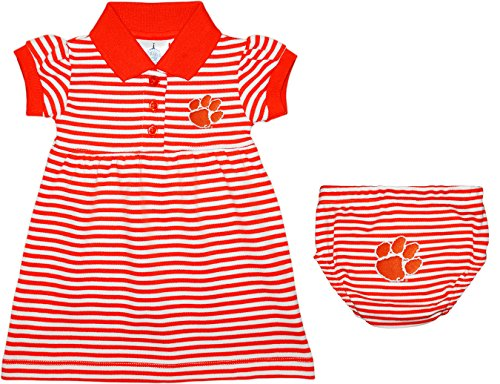 Creative Knitwear Clemson University Tigers Striped Game Day Dress with Bloomer, 6-9 Months, Orange