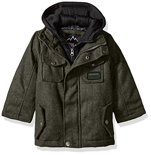 iXtreme Boys' Toddler Wool Coat W/Fleece 2fer Vestee, Olive 4T