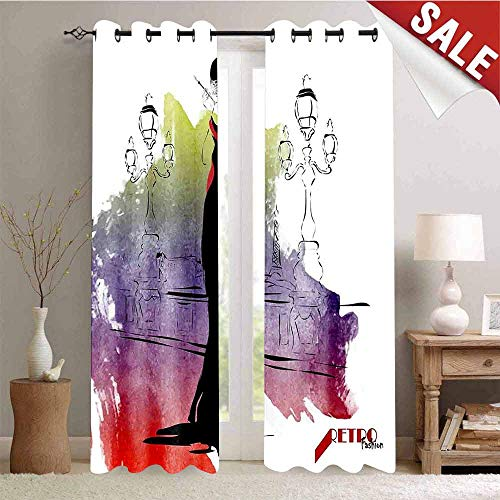 Hengshu Room Darkening Wide Curtains Girl with Red Shawl on The Street with Lanterns Sixties Trends Retro Style Glamour Waterproof Window Curtain W108 x L108 Inch Multicolor ()