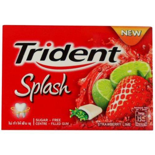 Trident Splash Chewing Gum Strawberry Lime Flavor Sugar Free Dental Health Net Wt 17.1 G (9 Pellets) X 2 (Strawberry Splash)