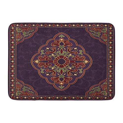 Ptrfedss Doormats Bath Rugs Outdoor/Indoor Door Mat Oriental Abstract Purple Coverlet Shawl and Any Ornamental Colorful Pattern Filigree Details Bathroom Decor Rug 16