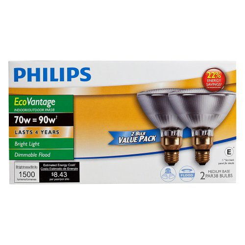 Philips 430421 Halogen PAR38 90 Watt Equivalent Dimmable Flood Standard Base Light Bulb, Long Life 2-Pack by Philips (Image #3)
