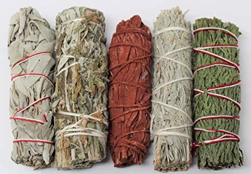 Rtr Art - 1 Pckt of Sage Bundle Smudge Kit 5 Stick Sampler White, Black, Blue, Cedar, Dragons Blood