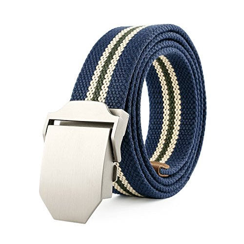 JasGood Mens Outdoor Military Style Tactical Canvas Web Belt Stainless Steel Buckle (Dark Blue-Stripe)