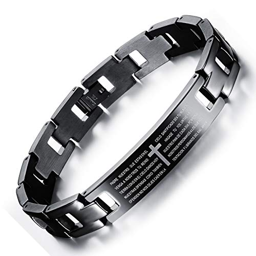 Stainless Steel Cross Bracelets for Men Vintage Mens Bracelets Black Engraved Cross Spanish Bible Lords Prayer Link Wrist Bracelet for Men/Boys Jewelry