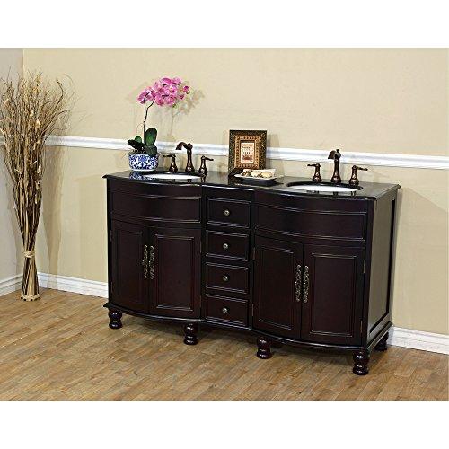 Colonial Vanity - 62 in Double sink vanity wood colonial cherry 603316-C-BG
