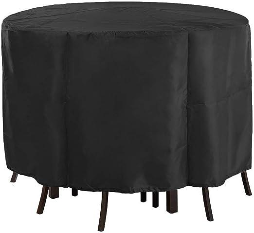 QWER Cubierta Muebles Mesa Fundas para Muebles De Jardín Redondo Juego De Fundas para Sofa Impermeable Circular Cubierta De Mesa Y Sillas,Negro (Size : 185x110cm): Amazon.es: Hogar