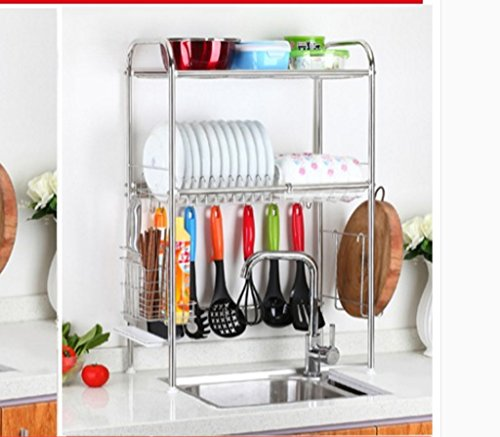 Hyun times 304 Stainless Steel Sink Drainage Rack Bowl Rack Kitchen Utensils Plate Chopsticks Dish Rack Knife Chopping Board Storage Rack by Hyun times Bowl shelf