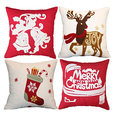 sykting Christmas Pillow Covers Farmhouse Winter Holiday Festival Decorative Pillow Covers with Embroidery Bells…
