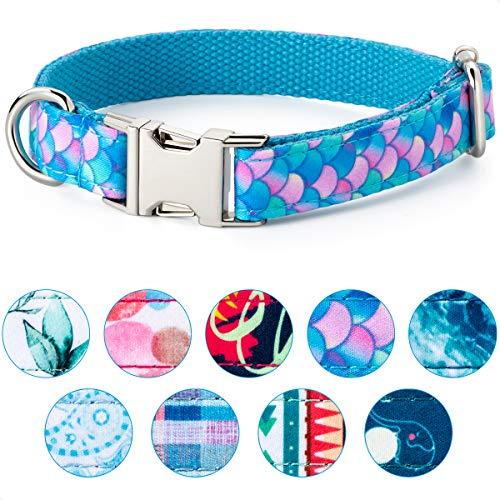 VIILOCK Elegant Dog Collar for Small Medium Large Dogs, Puppy Collar for Girl Dog (Mermaid Blue, XL)