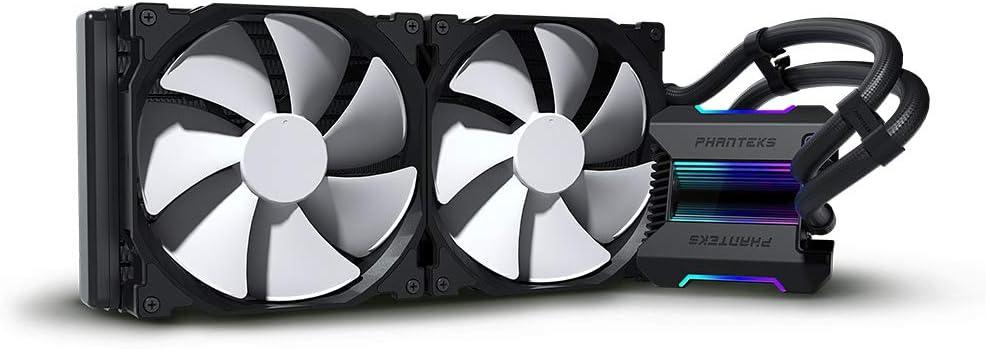 Phanteks (P-GO280MP_DBK01) Glacier One 280MP D-RGB AIO Liquid CPU Cooler, Infinity Mirror Pump Cap Design, 2X Silent 140mm MP PWM Fans, Black